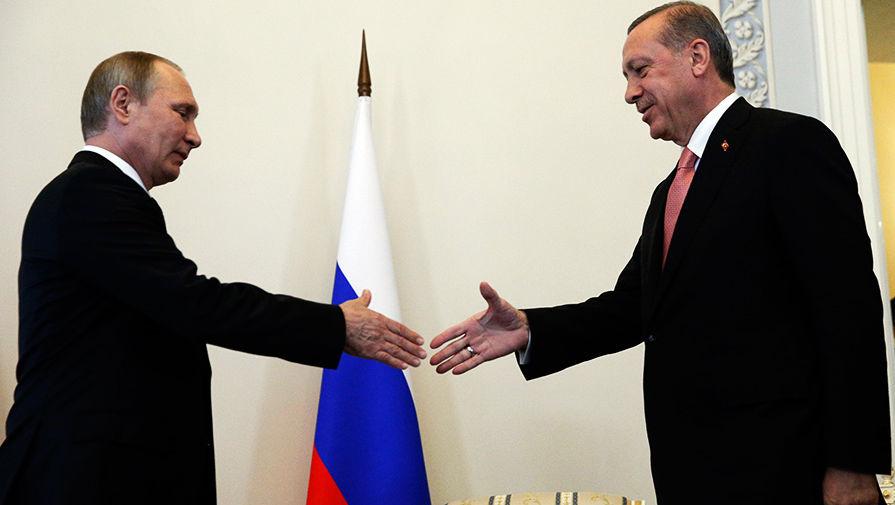 Владимир Путин и Реджеп Тайип Эрдоган во время встречи в Санкт-Петербурге