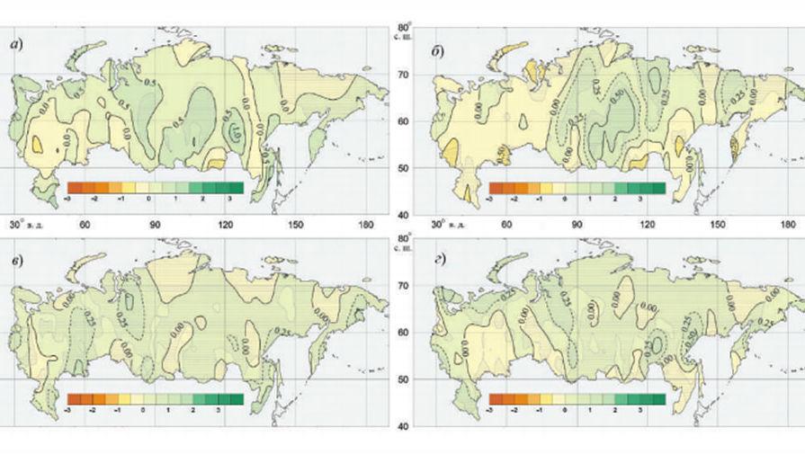 Географическое распределение коэффициента линейного тренда за период 1976—2010 гг. индекса R...