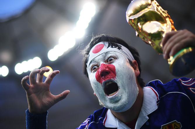 Во время матча 1/8 финала чемпионата мира по футболу между сборными Бельгии и Японии, 2 июля 2018 года