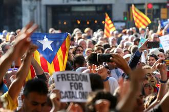Во время митинга в центре Барселоны, 20 сентября 2017 года