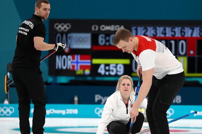 Соревнования по керлингу среди смешанных команд на XXIII зимних Олимпийских играх, 8 февраля 2018 года