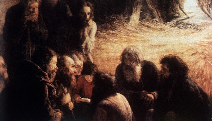 Репродукция картины Григория Мясоедова «Чтение манифеста 19 февраля 1861 года». Фрагмент.
