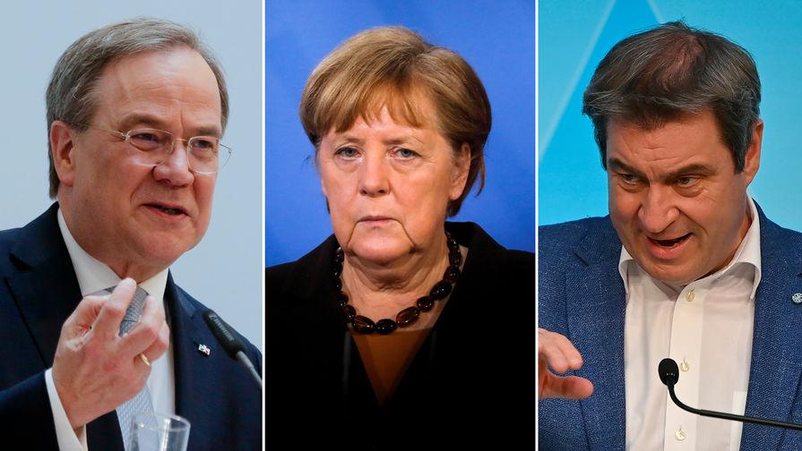 Армин Лашет, Ангела Меркель и Маркус Зедер (коллаж)