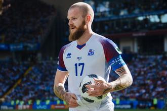 Игрок сборной Исландии Арон Гуннарссон во время матча группового этапа между сборными Аргентины и Исландии на стадионе Спартак в Москве, 16 июня 2018 года