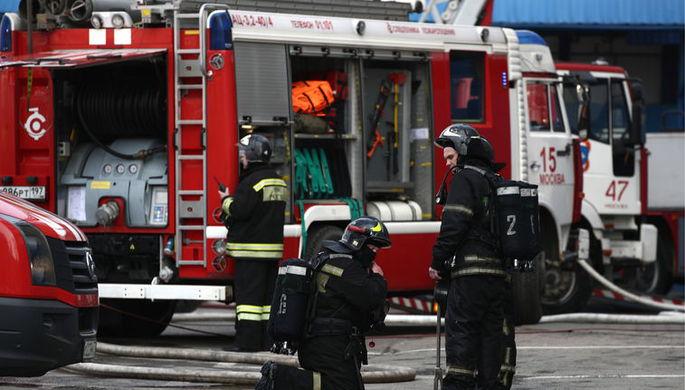 Ситуация на месте пожара в торговом центре «Персей для детей» на Малой Семеновской улице...