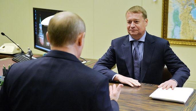 Президент России Владимир Путин и глава Республики Марий Эл Леонид Маркелов во время встречи в резиденции «Бочаров Ручей», ноябрь 2014 года