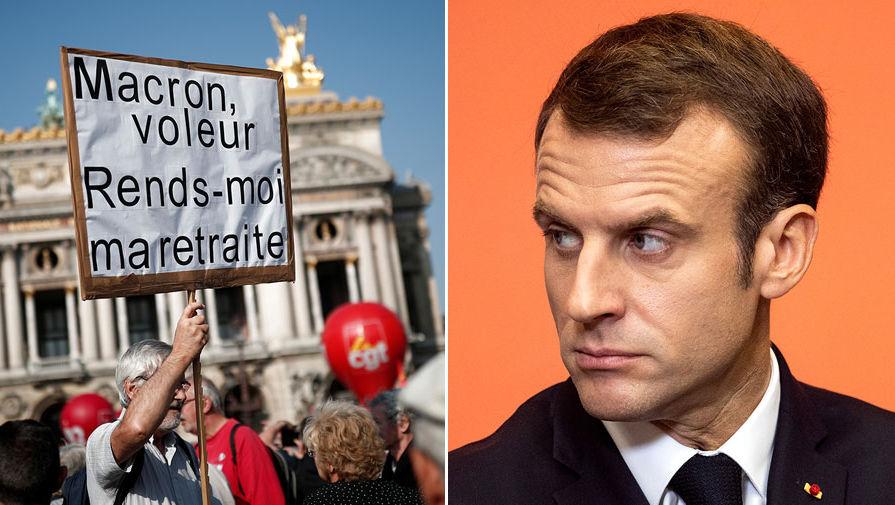Макрон обратился к профсоюзам Франции на фоне протестов в стране