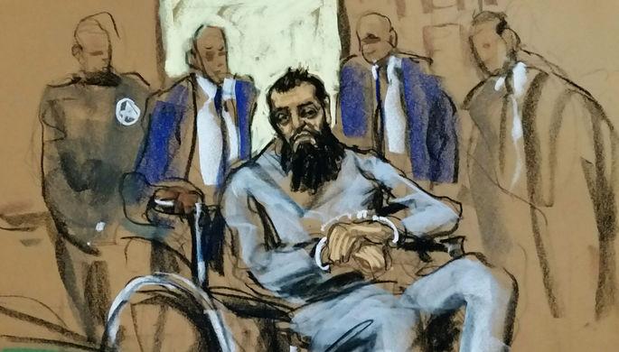Подозреваемый в исполнении теракта на Манхэттене Сайфулло Саипов на рисунке из зала суда в Нью-Йорке, 1 ноября 2017 года