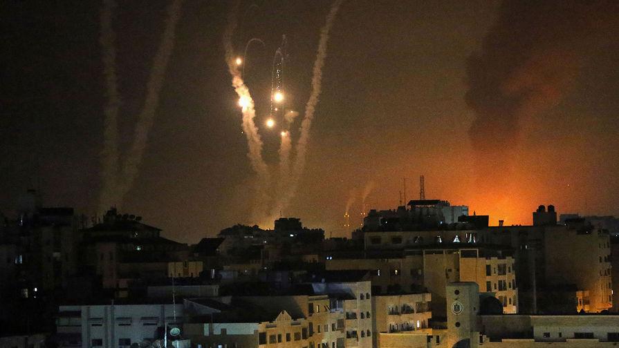 Ракеты, выпущенные палестинскими боевиками по Израилю, в Газе, май 2021 года