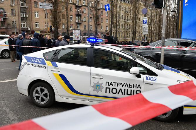 Место убийства бывшего депутата российской Госдумы Дениса Вороненкова в центре Киева, 23 марта 2017 года