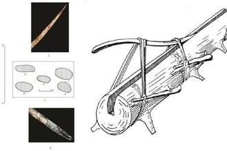 Слева: копья из бивневых стержней, найденные на стоянке Сунгирь, справа: устройство по выпрямлению бивней мамонта