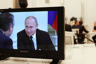 Съемка интервью президента России Владимира Путина журналистам газеты Financial Times в преддверии саммита G20
