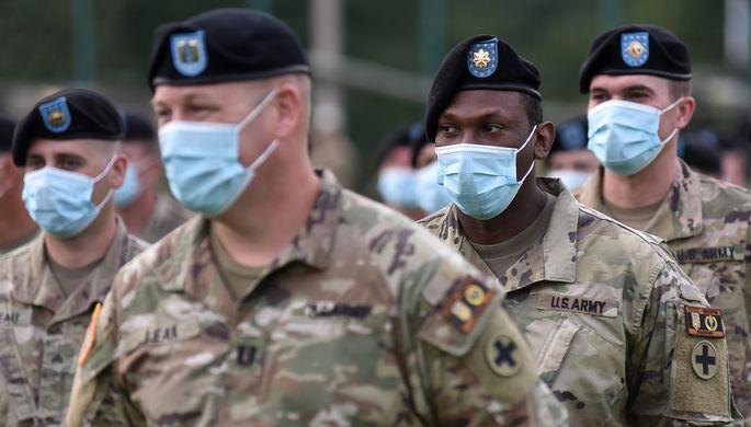 Военнослужащие США на церемонии открытия совместных военных учений Украины и стран НАТО Rapid Trident-2020 на Яворском полигоне во Львовской области.