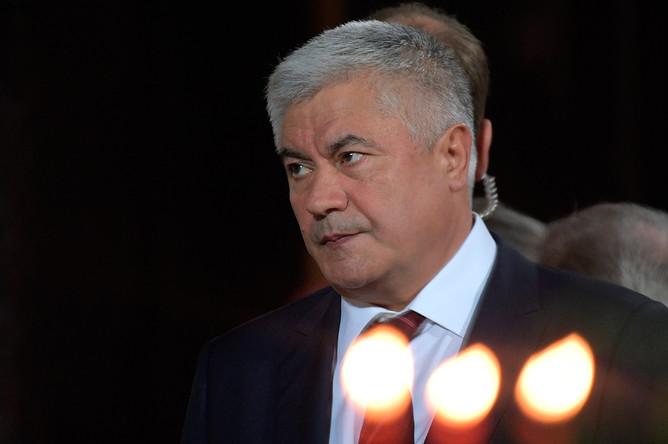 Министр внутренних дел Владимир Колокольцев на праздничном пасхальном богослужении в храме Христа Спасителя в Москве
