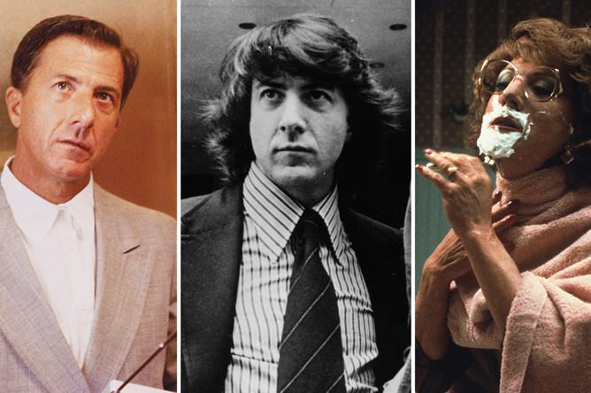Дастин Хоффман в фильмах «Человек дождя», «Вся президентская рать» и «Тутси», коллаж «Газеты.Ru»