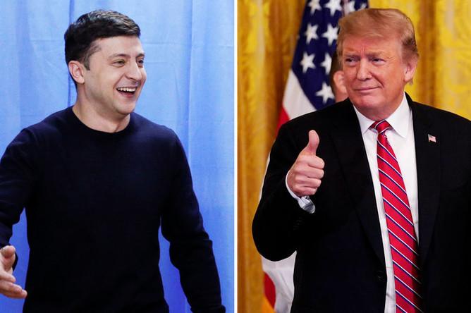 Кандидат в президенты Украины Владимир Зеленский и президент США Дональд Трамп, коллаж «Газеты.Ru»