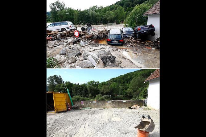 Коммуна Браунсбах 30 мая 2016 года и после ремонта 29 мая 2017 года, коллаж