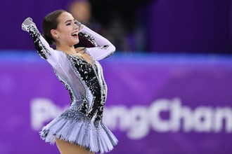 Российская фигуристка Алина Загитова в короткой программе личного турнира одиночниц на Олимпиаде-2018