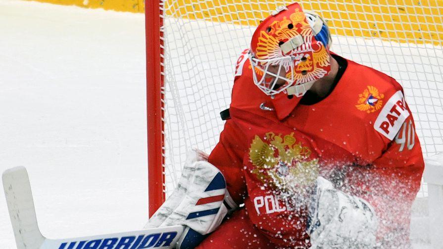 Вратарь сборной России Александр Георгиев в матче группового этапа чемпионата мира по хоккею между сборными командами России и Австрии.