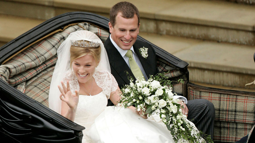Питер Филлипс и Отэм Келли во время свадебной церемонии в Виндзоре, 2008 год
