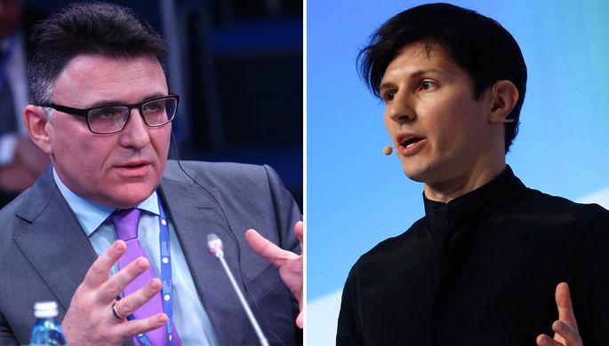Руководитель Роскомнадзора Александр Жаров (слева) и основатель мессенджера Telegram Павел Дуров...
