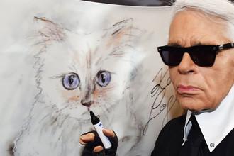 Дизайнер Карл Лагерфельд на фоне рисунка кошки Шупетт во время презентации фотокалендаря в Берлине, 2015 год