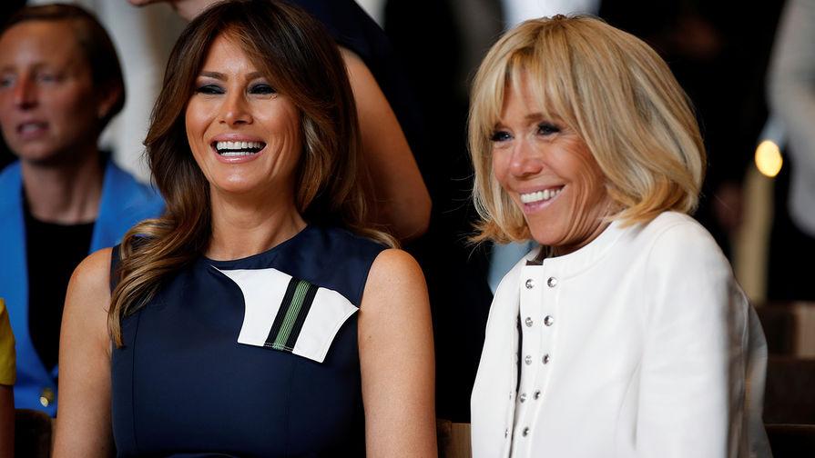 Первые леди США и Франции Меланья Трамп и Брижит Макрон перед концерта в Ватерлоо во время саммита...