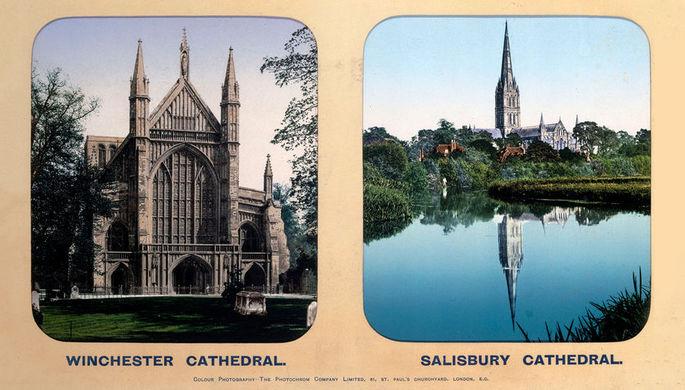 Соборы в Винчестере и Солсбери на открытке, 1910-е годы