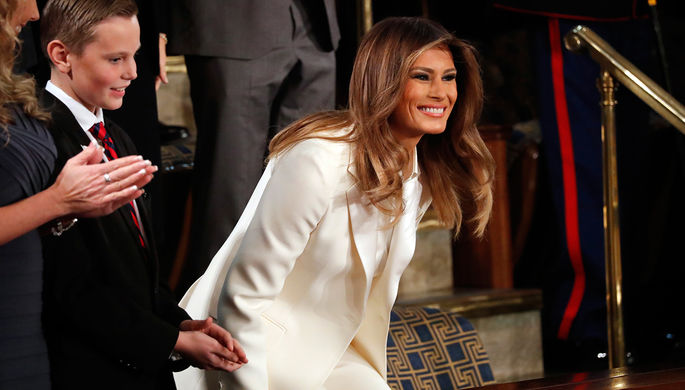 Первая леди США Меланья Трамп во время выступления президента Дональда Трампа с ежегодным посланием...