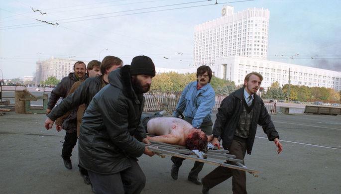 Пострадавший у Белого дома в Москве, 4 октября 1993 года