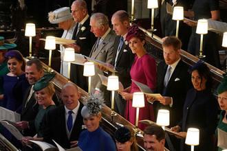 Члены королевской семьи на свадьбе принцессы Евгении Йоркской и Джека Бруксбэнка, 12 октября 2018 года
