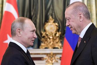 Президент России Владимир Путин и президент Турции Реджеп Тайип Эрдоган во время встречи в Кремле, 8 апреля 2019 года