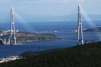 Знаменитый мост на остров Русский на Дальнем Востоке