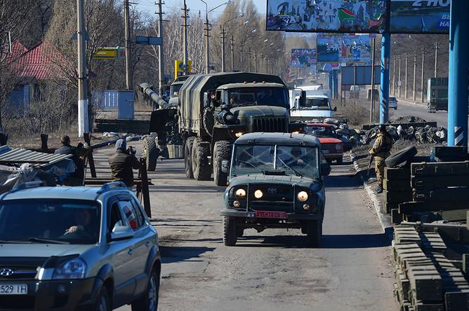 Отвод колонны гаубиц «Мста-М2» из Донецка