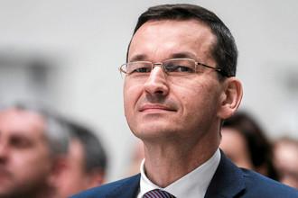 Матеуш Моравецкий во время мероприятия в городе Ропчице, апрель 2017 года