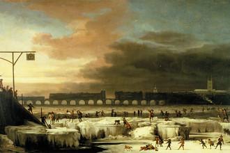 Картина Абрахама Хондиуса «Замерзшая Темза», написанная им в 1677 году в разгар минимума Маундера