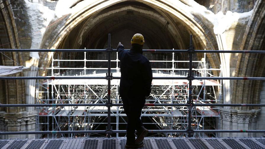 Собор Парижской Богоматери во время реконструкции, 15 апреля 2021 года