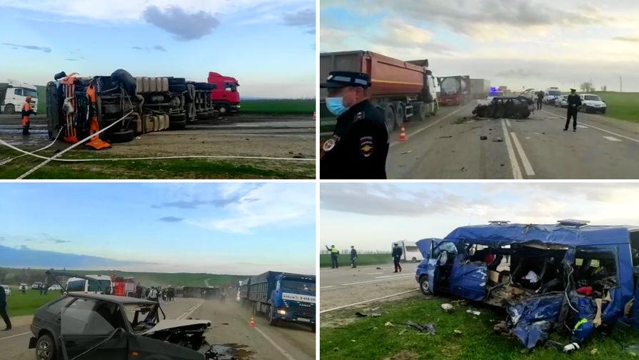 Появилось видео ДТП с микроавтобусом на Ставрополье