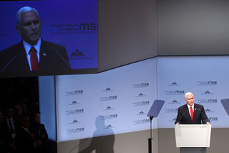 Майк Пенс выступает на Мюнхенской конференции по безопасности, 16 февраля 2019 года
