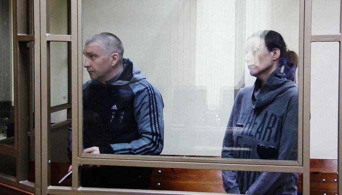 Анна Сухоносова и Дмитрий Долгополов во время вынесения приговора в Северо-Кавказском окружном военном суде в Ростове-на-Дону, 28 февраля 2019 года