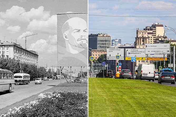 Ленинский проспект, 1967 и 2017 год