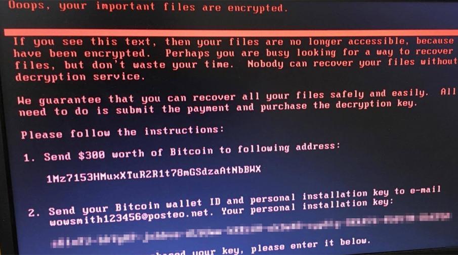 Вирус Petya.A на экране зараженного компьютера