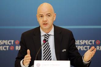 Генеральный секретарь Джанни Инфантино после исполкома УЕФА