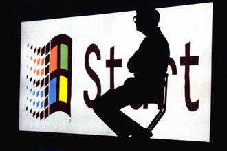 Билл Гейтс во время презентации операционной системы Windows 95
