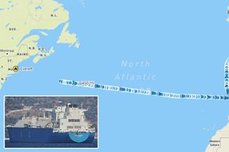 Танкер Gaselys и путь судна через Атлантику, коллаж «Газеты.Ru»