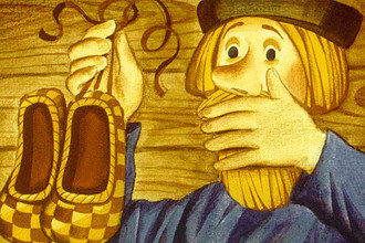 Иллюстрация к русской народной сказке «Чудесные лапоточки»