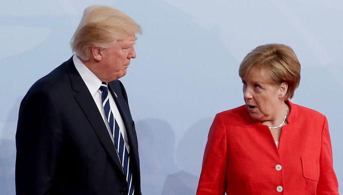 Президент США Дональд Трамп и канцлер Германии Ангела Меркель