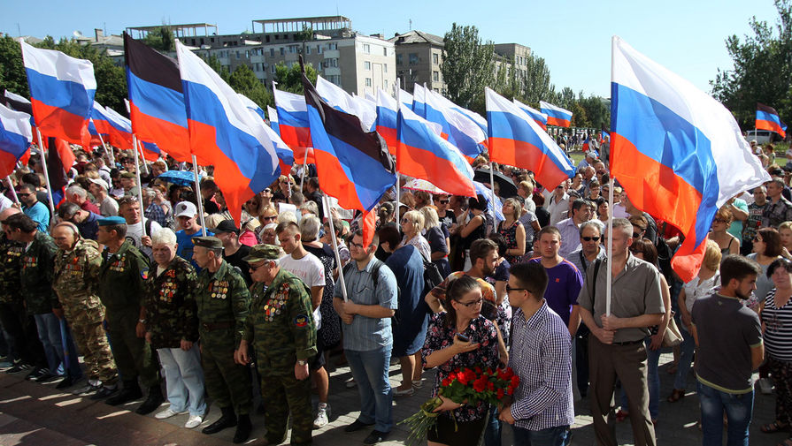 Митинг в центре Донецка, август 2019 года