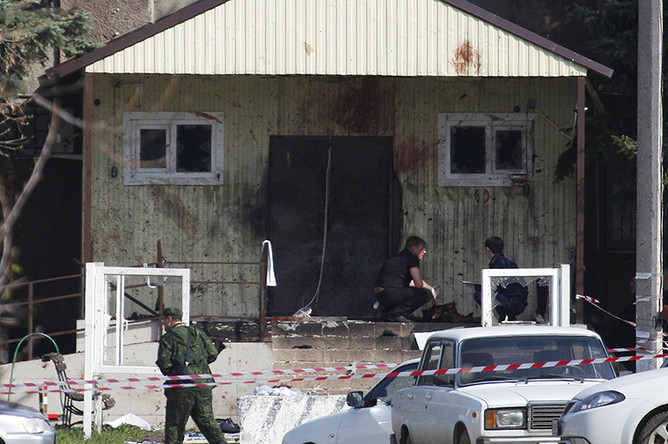 На месте взрыва смертника в селе Новоселицкое Ставропольского края
