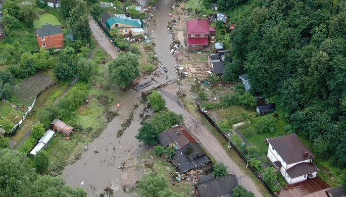 Вид с квадрокоптера на последствия ливня в Рузе, в результате которого прорвало дамбу.